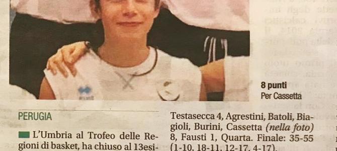 GIULIA CASSETTA AL TROFEO DELLE REGIONI 2019 – DAL CORRIERE DELL'UMBRIA