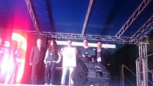 Il capitano Martina Cristofani, coach William Orlando e il dirigente Enrico Cristofani sul palco della presentazione